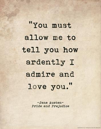 Romantic Quote Poster - Pride and Prejudice - Jane Austen