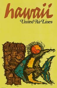 Hawaii - United Air Lines - Tiki and Moorish Idol (Kihi Kihi) Fish by Jebavy