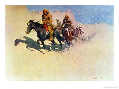 Jedediah Smith Making His Way Across the Desert from Green River to the Spanish Settlement-Frederic Sackrider Remington-Giclee Print