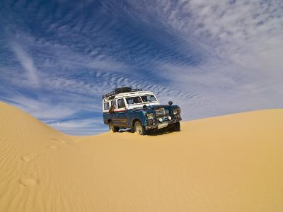 Jeep Driving Through the High Sand Dune of Western Desert, Near Siwa, Egypt, North Africa, Africa-Michael Runkel-Photographic Print