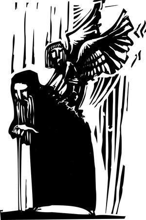 Woodcut Expressionist Style Image of a Young Angel Emerging from the Back of an Old Man.