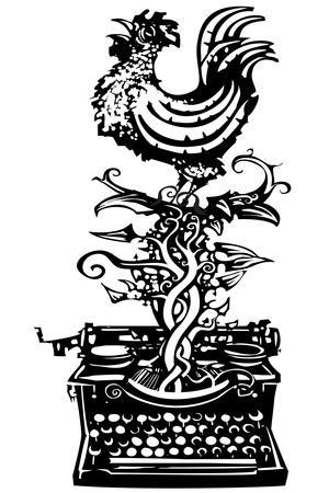Woodcut Rooster Crowing Emerging from a Typewriter for Waking News