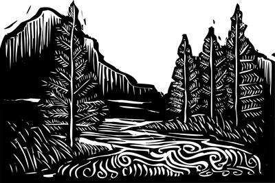Woodcut Style Expressionist Landscape with Trees and River.