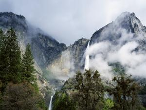 Detail of Upper and Lower Yosemite Falls During a Clearing Spring Storm by Jeff Foott
