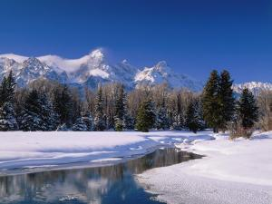 View of Grand Teton Mountain Range at Morning in Winter by Jeff Foott
