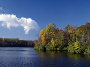View of Price Lake from Blue Ridge Parkway, Autumn, Virginia, Usa by Jeff Foott