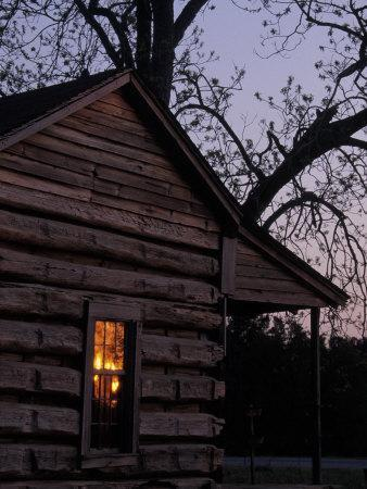 Log Cabin Window Reflecting Sunset, Red Hill, GA