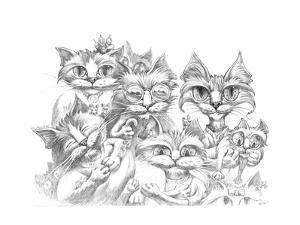 Cat Family Portrait Pencil by Jeff Haynie