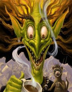 Fantasy Troll Too Much Coffee by Jeff Haynie