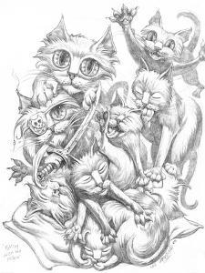 Fighting over Pillow Pencil by Jeff Haynie