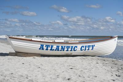 A Rowboat Sits on the Beach in Atlantic City, New Jersey