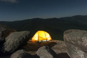 A Solitary Tent Rests on Boulders in Shenandoah National Park by Jeff Mauritzen