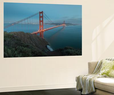 Lights on the Golden Gate Bridge at Dusk