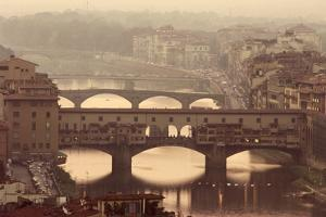 Italy, Tuscany, Florence, Ponte Vecchio and Arno River with Bridge by Jeff Spielman