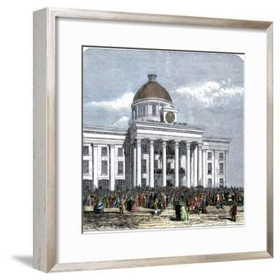 Jefferson Davis Inaugurated as President of the Confederate States of America, c.1861--Framed Giclee Print