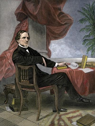 Jefferson Davis, President of the Confederate States of America, at His Desk--Giclee Print