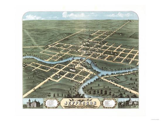 Jefferson, Wisconsin - Panoramic Map-Lantern Press-Art Print