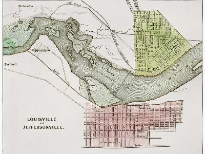Jeffersonville, Indiana: Map--Giclee Print