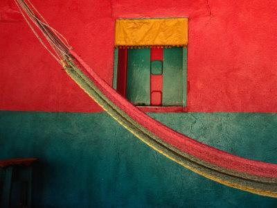 Detail of Painted House Facade with Shutter and Hammock, La Venta Del Sur,Choluteca, Honduras