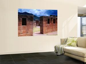 Inca Ruins with Andes Behind by Jeffrey Becom