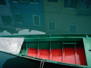 Painted Boats and House Reflections on the Island of Burano, Burano, Veneto, Italy by Jeffrey Becom
