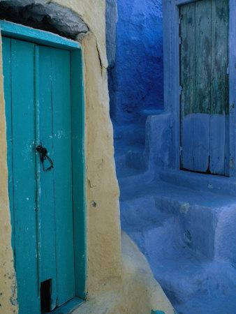 Painted Stepped Alley and Green Wooden Door,Pothia, Kalymnos, Greece