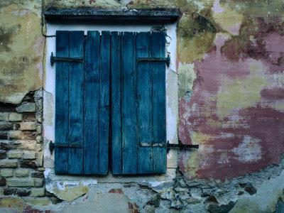 Painted Stucco Wall and Wooden Shutter, Corfu Island, Ionian Islands, Greece