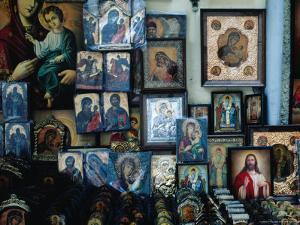 Religious Souvenirs Outside the Church of St. Spiridon, Corfu Town, Greece by Jeffrey Becom