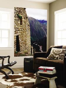Stone Wall with Urubamba River Below by Jeffrey Becom