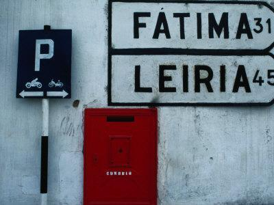 Street Signs and Letterbox in Tomar, Tomar, Ribatejo, Portugal
