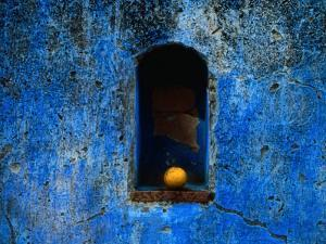 The Weathered Blue Facade to Santa Maria Tonantzintla,Puebla, Mexico by Jeffrey Becom
