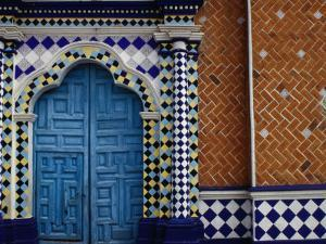 Tiled Facade of the Church of the Virgin of the Assumption in Libres, Puebla, Mexico by Jeffrey Becom