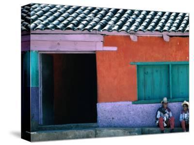 Two Mayan Boys Sitting in Front of House, Todos Santos Cuchumatan, Guatemala