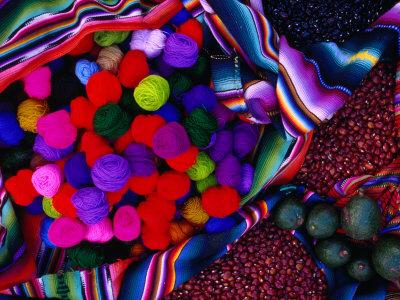 Yarn and Red Nuts in Market Stall, Chichicastenango, Guatemala