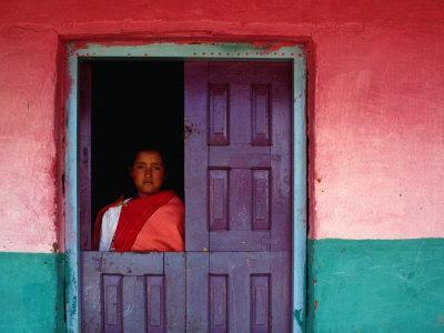 Young Maya Woman in Doorway of Home Zinacantan, Chiapas, Mexico