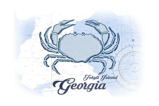 Jekyll Island, Georgia - Crab - Blue - Coastal Icon-Lantern Press-Art Print