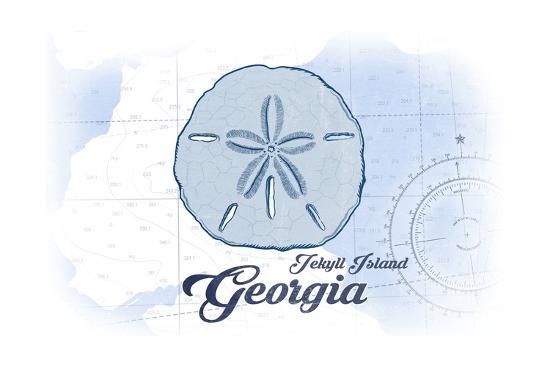 Jekyll Island, Georgia - Sand Dollar - Blue - Coastal Icon-Lantern Press-Art Print