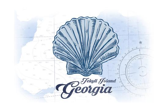 Jekyll Island, Georgia - Scallop Shell - Blue - Coastal Icon-Lantern Press-Art Print