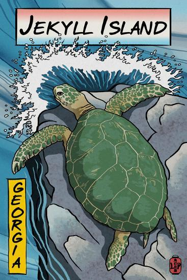 Jekyll Island, Georgia - Sea Turtle - Woodblock Print-Lantern Press-Wall Mural