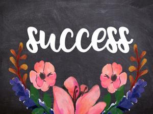 Success Flower Chalkboard by Jelena Matic
