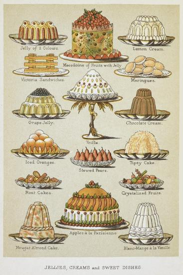 Jellies, Creams and Sweet Dishes-Isabella Beeton-Giclee Print