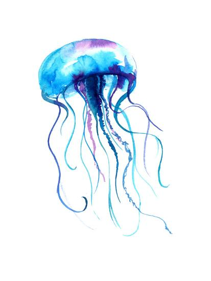 Jellyfish Watercolor Illustration. Medusa Painting Isolated on White Background, Colorful Tattoo De-Anna Kutukova-Art Print
