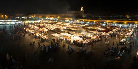 Jemaa el-Fna at night, Marrakesh, Morocco--Photographic Print