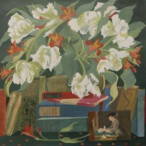 Tulips, books and postcards by Jennifer Abbott