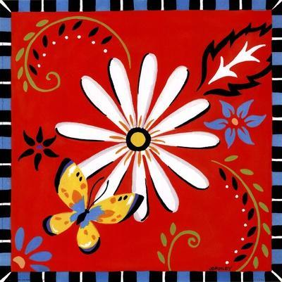 Daisies And Butterflies-Red
