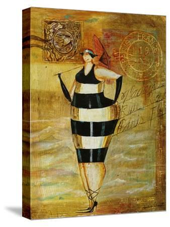 Vintage Beach Girl Black Stripes
