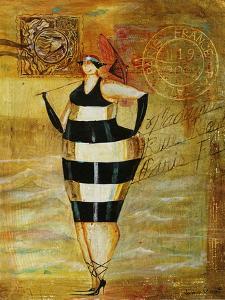 Vintage Beach Girl Black Stripes by Jennifer Garant