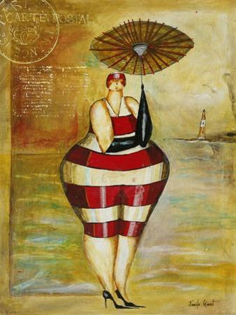 Vintage Beach Girl Red Stripes by Jennifer Garant