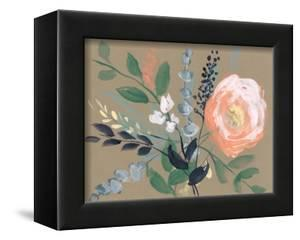 Flowers on Mocha I by Jennifer Goldberger