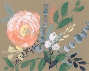 Flowers on Mocha II by Jennifer Goldberger